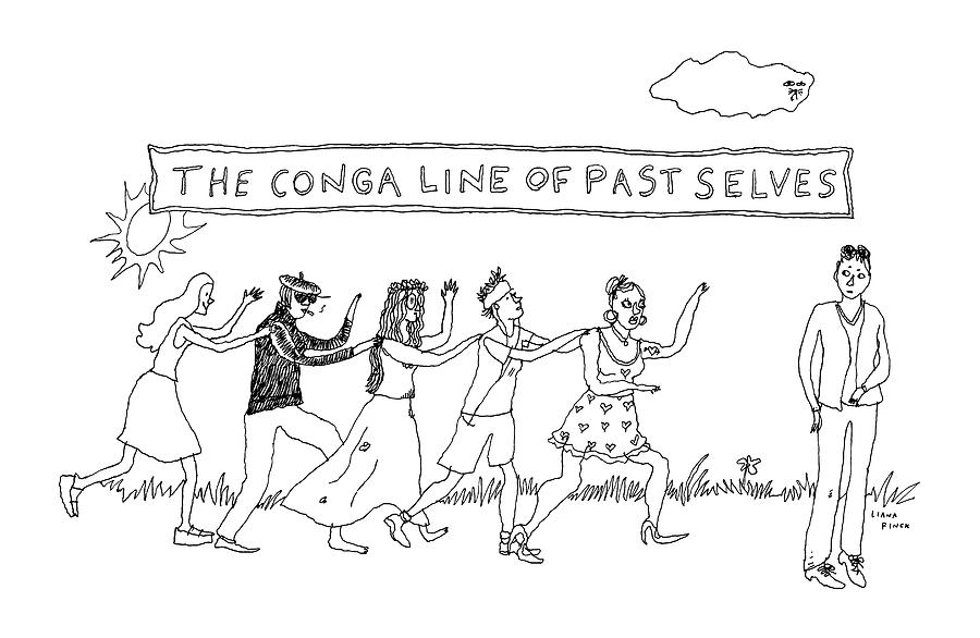 The Conga Line Of Past Selves -- A String Drawing by Liana Finck