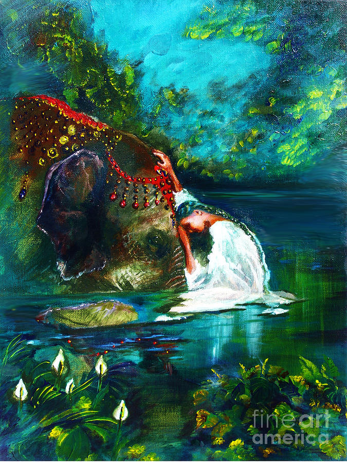 Elephant Painting - The Connection by Donna Chaasadah