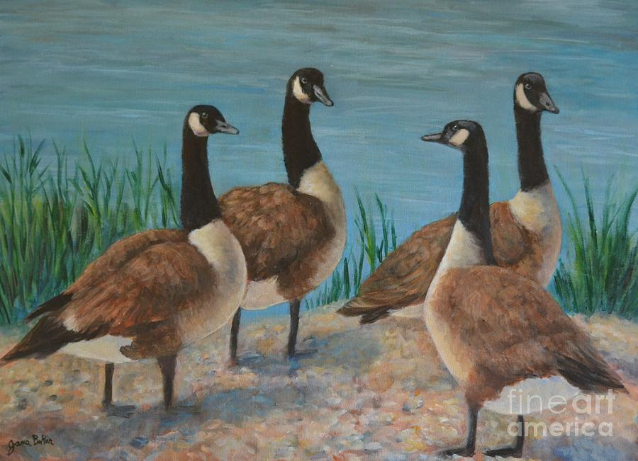 Geese Painting - The Conversation by Jana Baker