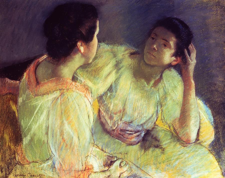 Belle Epoque; Female; Females; Friends; Listening; Friendship; Seated; Head In Hand; Impressionist; Advice; Care; Chatting; Confidante; Gossip; Discussion; Talking; Conversation Pastel - The Conversation by Mary Stevenson Cassatt