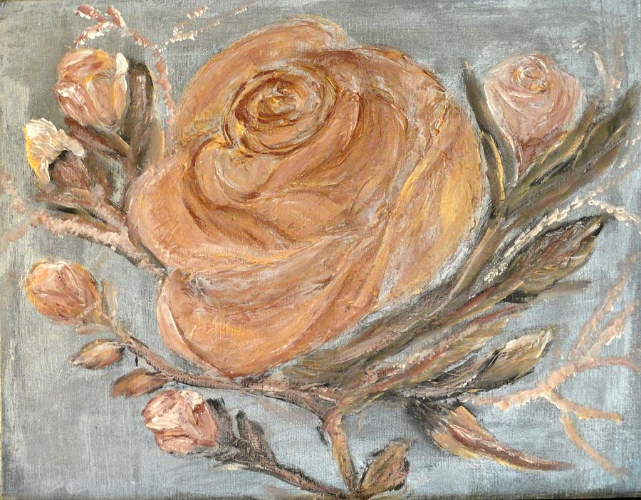 Still Life Painting - The Copper Rose by Corina Lupascu