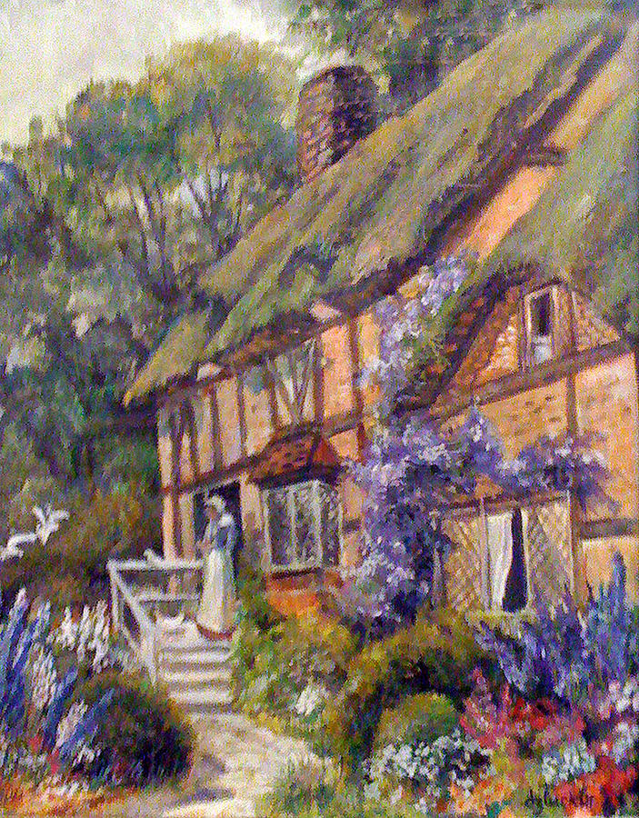 Old Painting - The Cottage by Donna Tucker