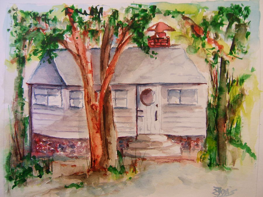 Lake Geneva Painting - The Cottage In The Highlands by Elaine Duras
