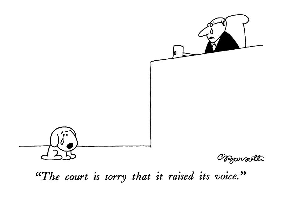 The Court Is Sorry That It Raised Its Voice Drawing by Charles Barsotti