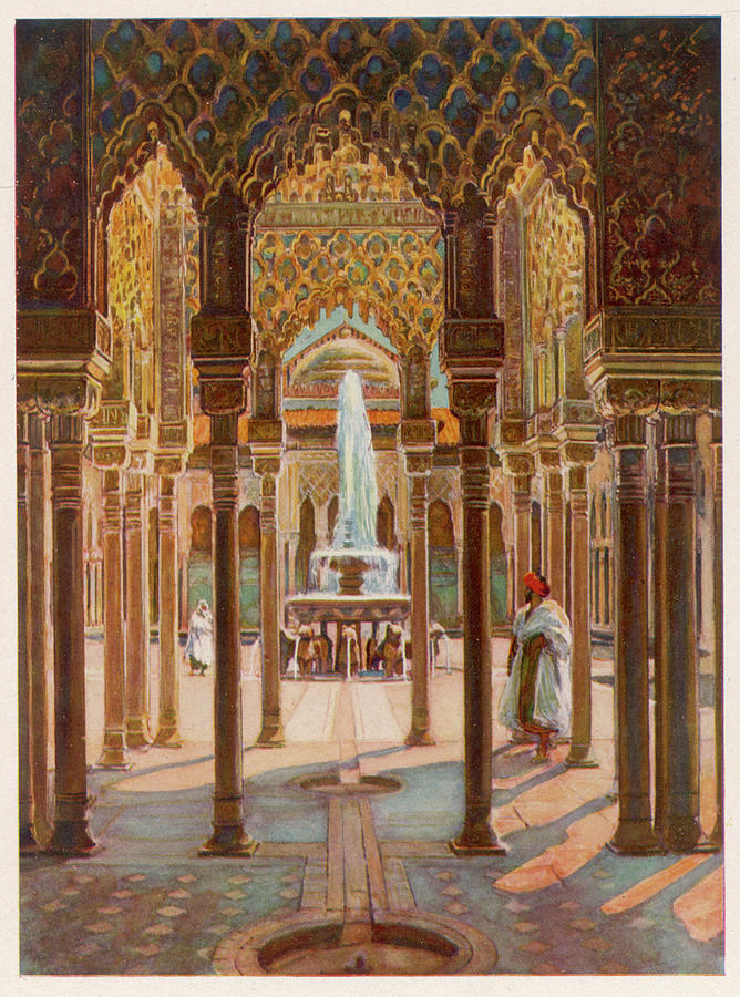 Granada Drawing - The Court Of Lions          Date Circa by Mary Evans Picture Library