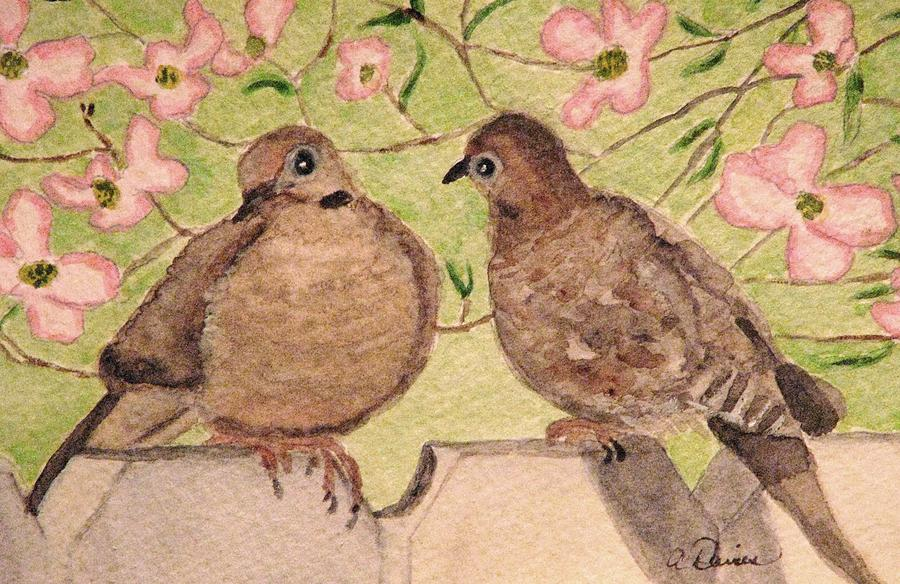 Mourning Doves Painting - The Courtship by Angela Davies