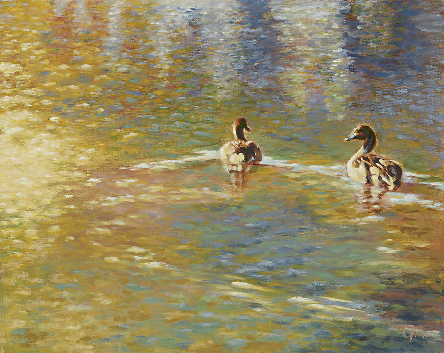 Duck Painting - The Courtship by Gini Heywood