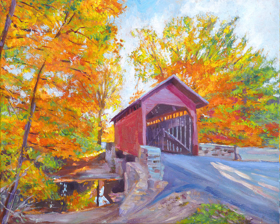 Impressionist Painting - The Covered Bridge by David Lloyd Glover