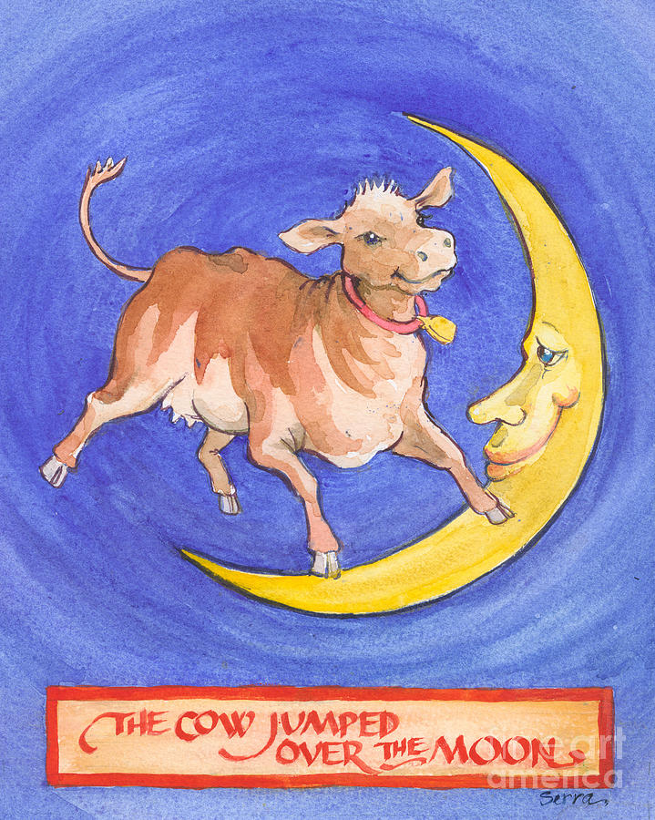 Cow Painting - The Cow Jumped Over The Moon by Lora Serra