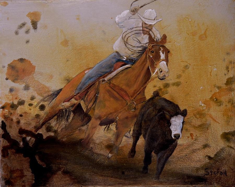 Cowboy Roping Painting Painting - The Cowboy Way by Stefon Marc Brown