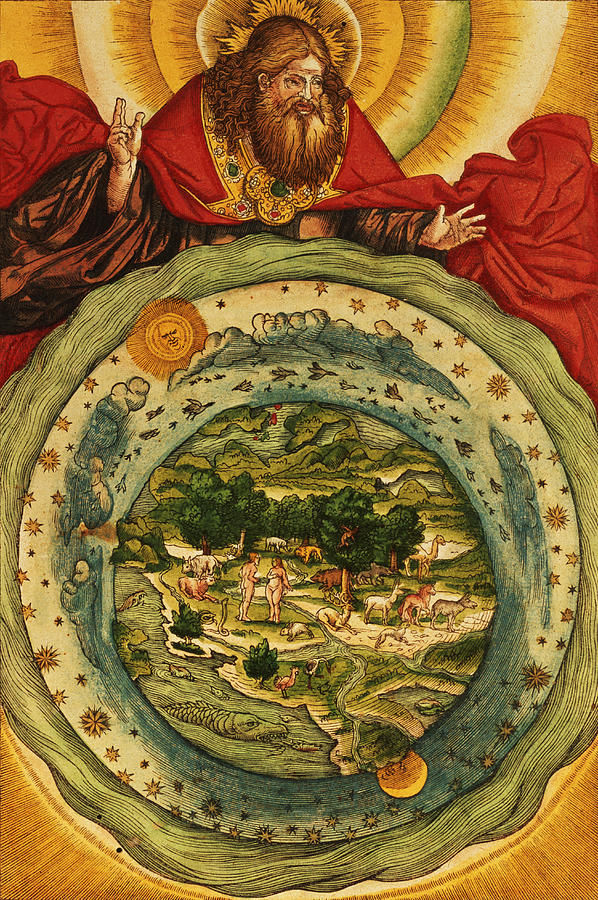 God Painting - The Creation, From The Lutheran Bible by German School