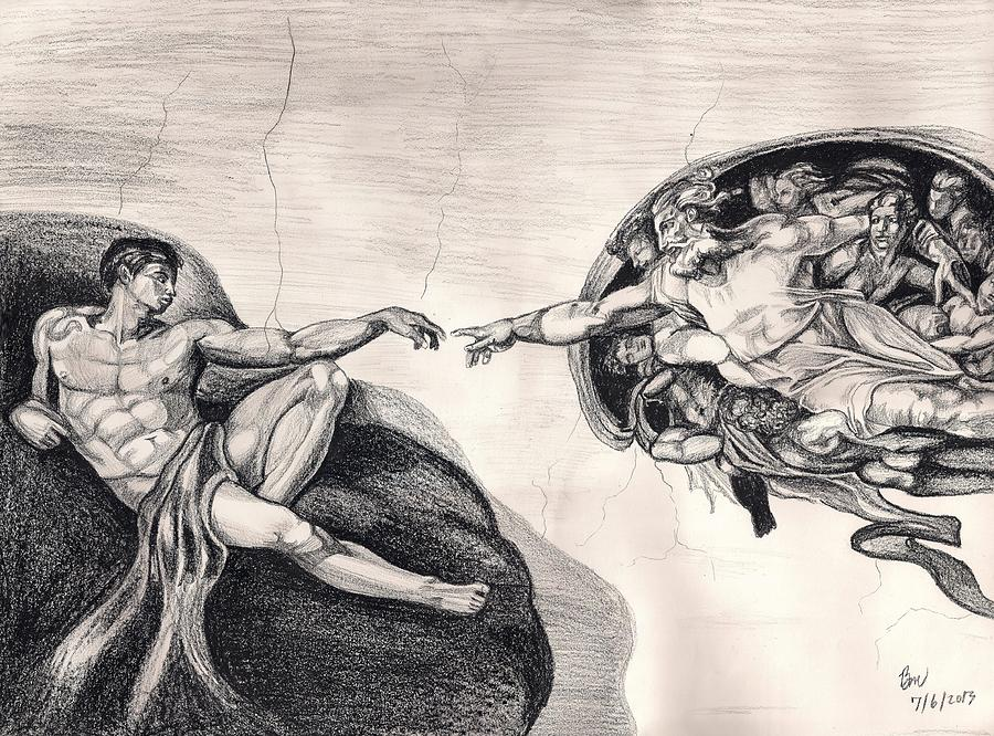 Michael Angelo Painting - The Creation Of Adam A Redraw by Beverly Marshall