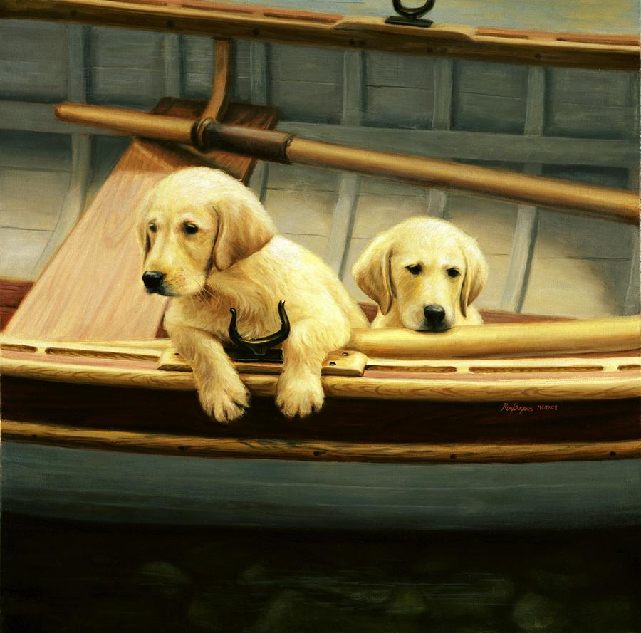 Retriever Puppies Painting - The Crew by Ronald Bayens