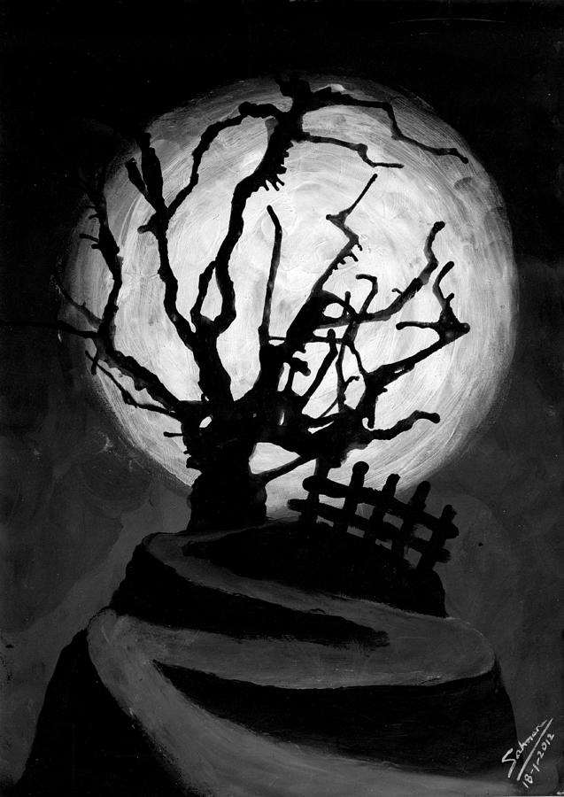 Wallpaper Buy Art Print Phone Case T-shirt Beautiful Duvet Case Pillow Tote Bags Shower Curtain Greeting Cards Mobile Phone Apple Android Nature Horror Black And White Halloween Creepy Festive Tree Nature Landscape Wildlife Moon Vampire Ghost Hunting Gothic Dark Scary Salman Ravish Khan Painting - The Crooked Tree by Salman Ravish
