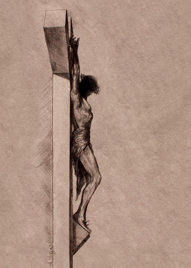 Christ Drawing - The Cross 2 by Derrick Higgins