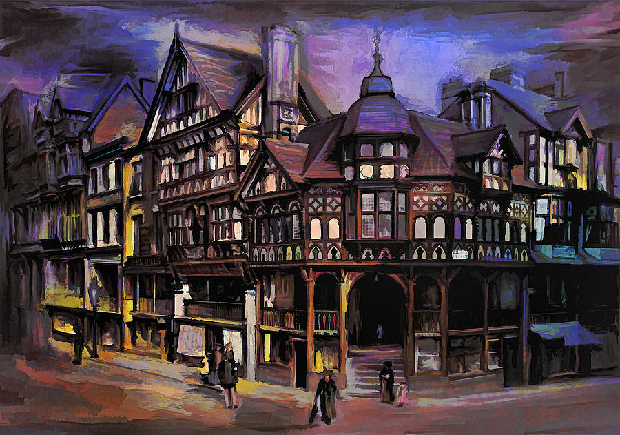 Old Painting - The Cross And Rrows Chester England by Andrzej Szczerski