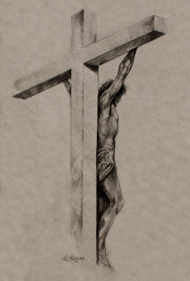 Christ Drawing - The Cross by Derrick Higgins