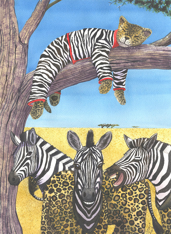 Zebra Painting - The Crossdressers by Catherine G McElroy