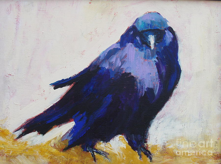 Crow Painting - The Crow by Virginia Dauth
