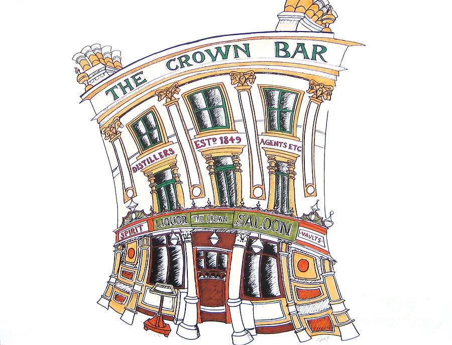 Crown Drawing - The Crown Bar Belfast by Tanya Mai Johnston