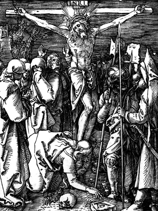 Jesus Drawing - The Crucifixion by Albrecht Durer