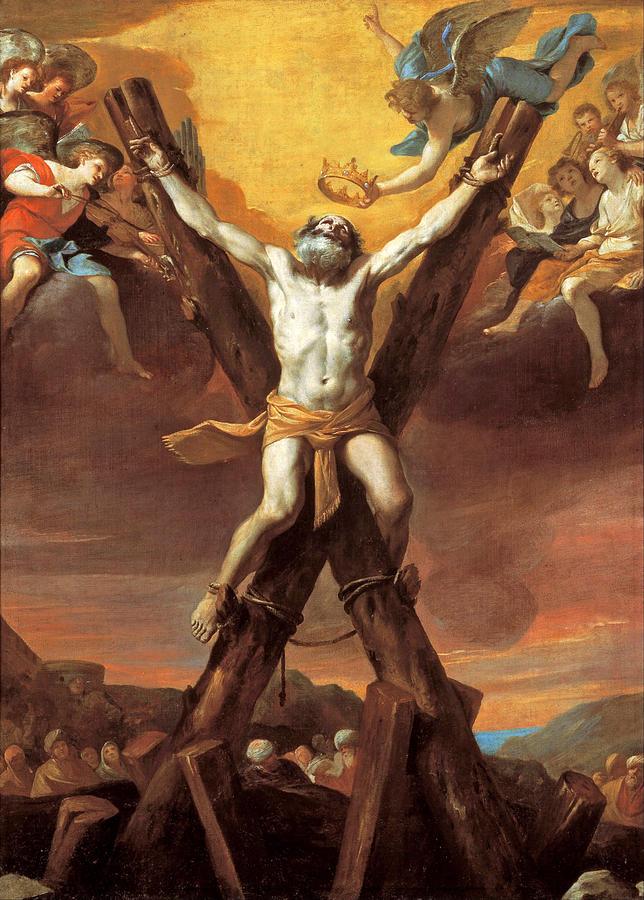 Mattia Preti Painting - The Crucifixion Of St Andrew by Mattia Preti