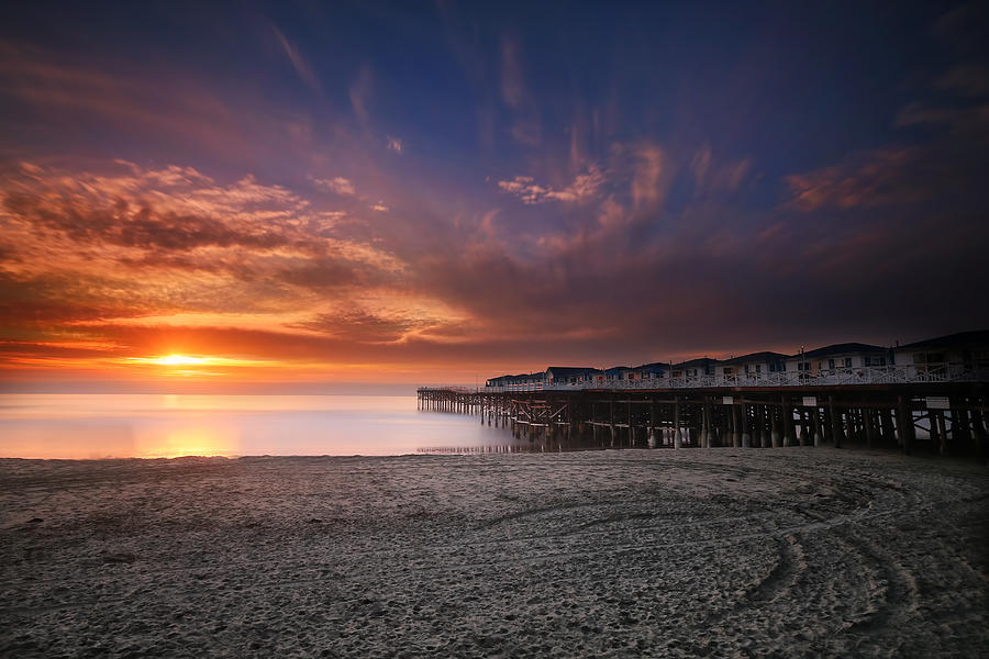 Sunset Photograph - The Crystal Pier by Larry Marshall