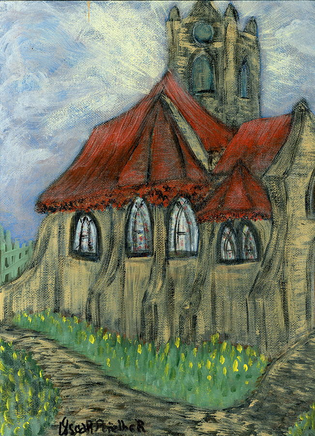 Cityscapes Painting - The Curch  by Oscar Penalber