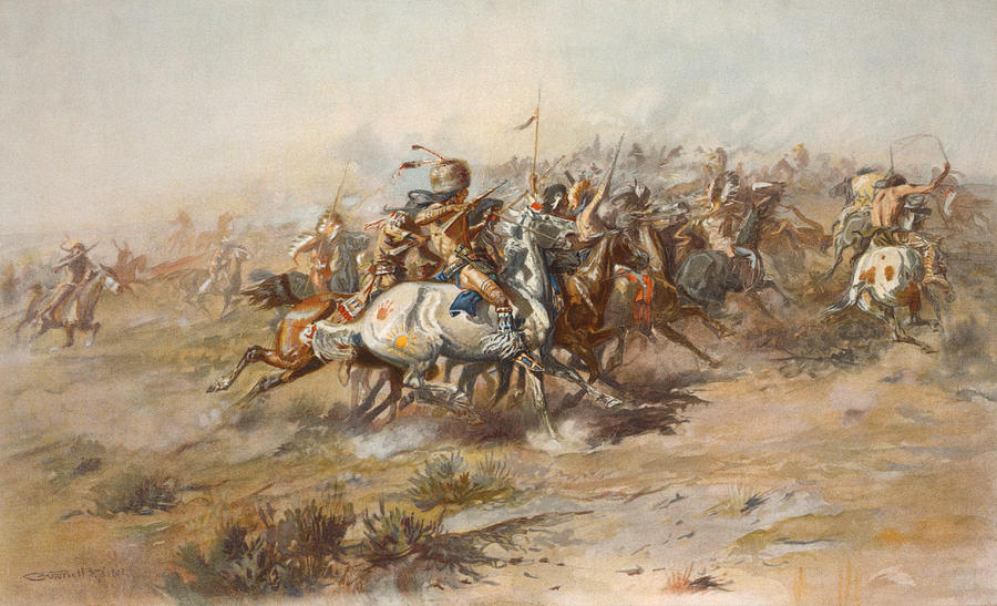 General Custer Painting - The Custer Fight  by War Is Hell Store