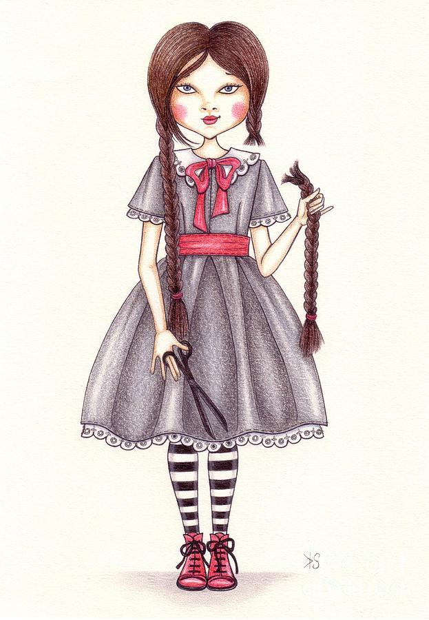 Illustration Drawing - The Cut by Snezana Kragulj