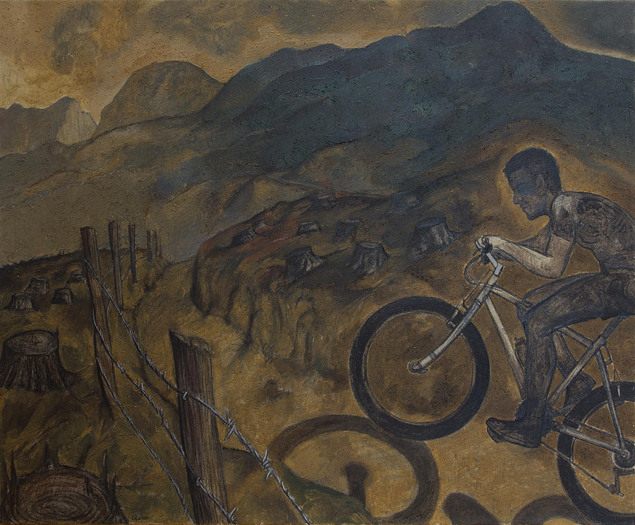 Cyclist Painting - The Cyclist by Fernando Alvarez