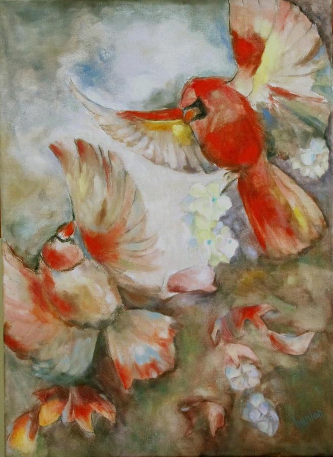 Cardinals Painting - The Dance Of The Cardinals by Susan Hanlon