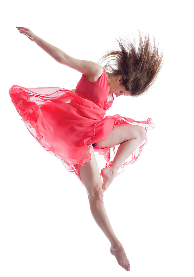 The Dancer In Midair Isolated On White Photograph by Proxyminder