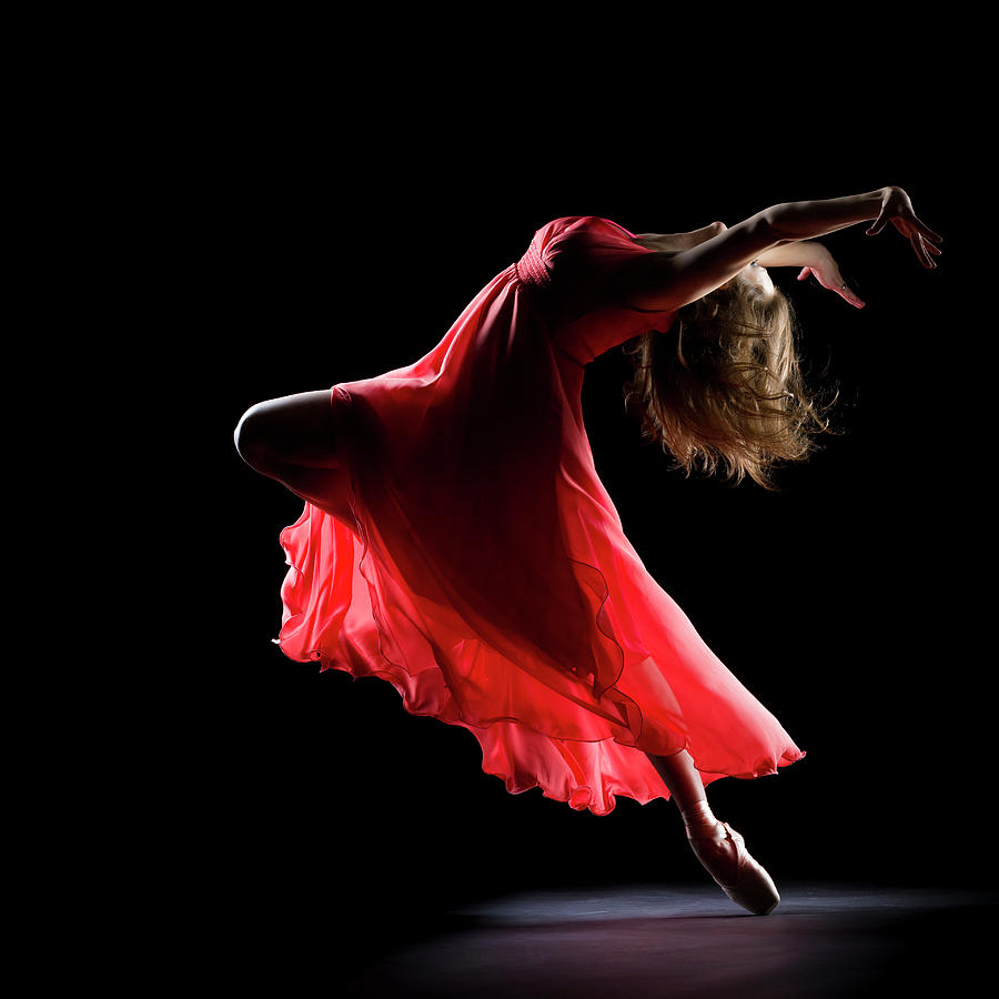 The Dancer On Black Background Photograph by Proxyminder