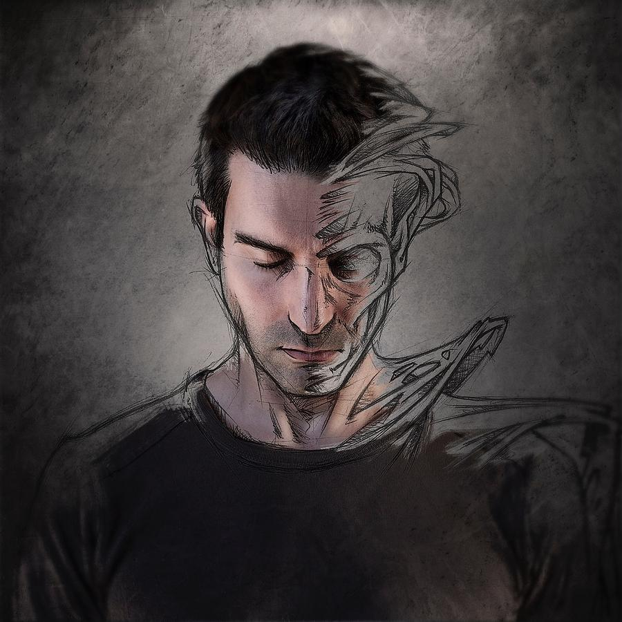Self Photograph - The Dark Side Of The Sketch by Sebastien Del Grosso