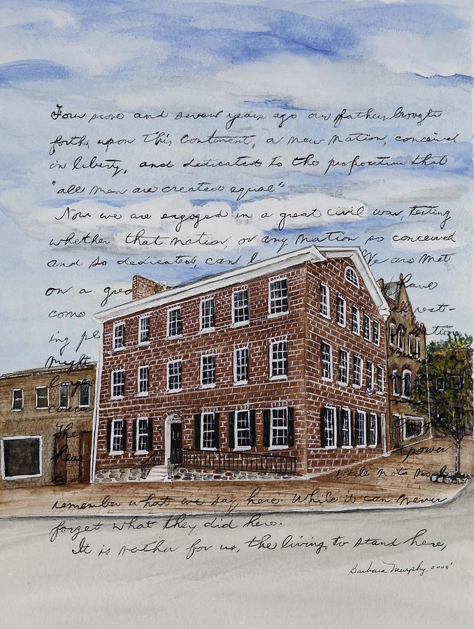 Gettysburg Painting - The David Wills House 1816 by Barbara Murphy