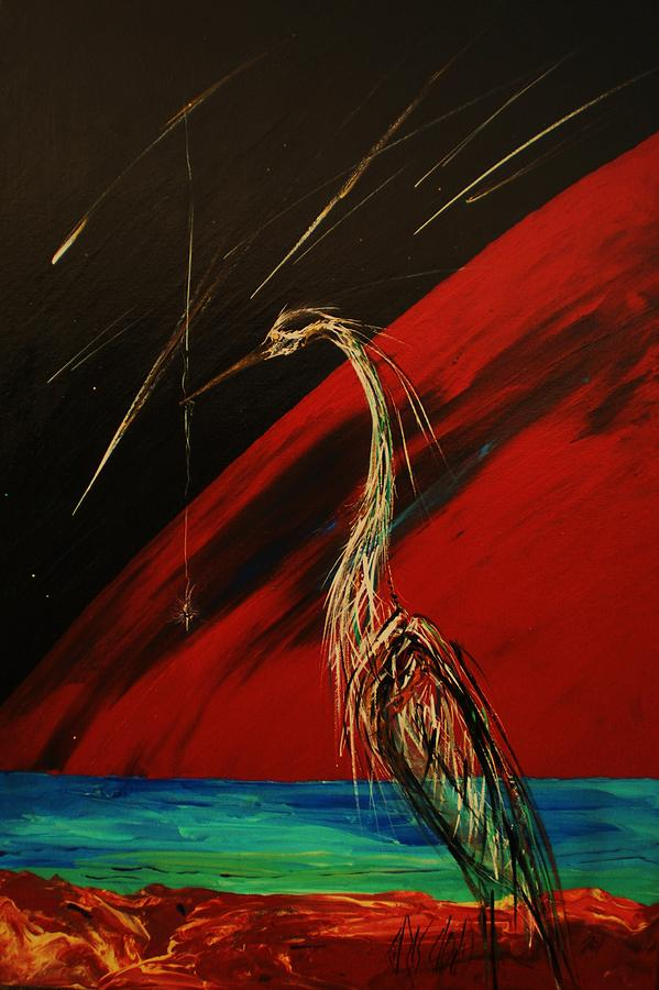 Heron Painting - The Day Of Knowing by Chris Cloud
