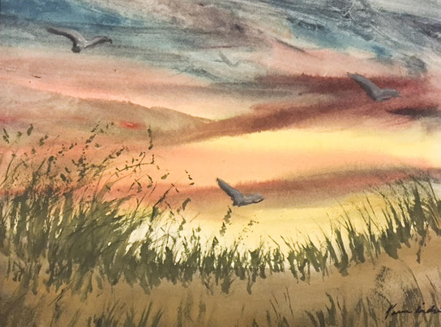 Beach Painting - The Days End by Karen  Condron