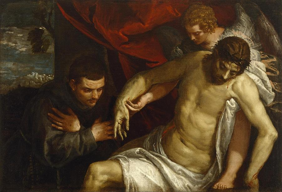 Cinquecento Painting - The Dead Christ Supported By An Angel And Adored By A Franciscan by Paolo Veronese