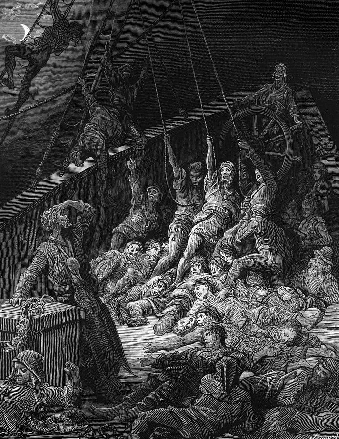 Sailor; Vessel; Ship; Sea; Miracle; Miraculous; Albatross; Scene From 'the Rime Of The Ancient Mariner' By S T; Coleridge; 1772-1834; 1876; Engraving; Dore Drawing - The Dead Sailors Rise Up And Start To Work The Ropes Of The Ship So That It Begins To Move by Gustave Dore