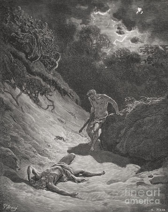 Cain Painting - The Death Of Abel by Gustave Dore