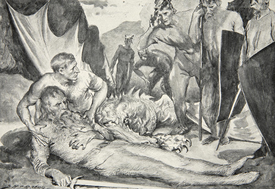 Beowulf Drawing - The Death Of Beowulf by John Henry Frederick Bacon