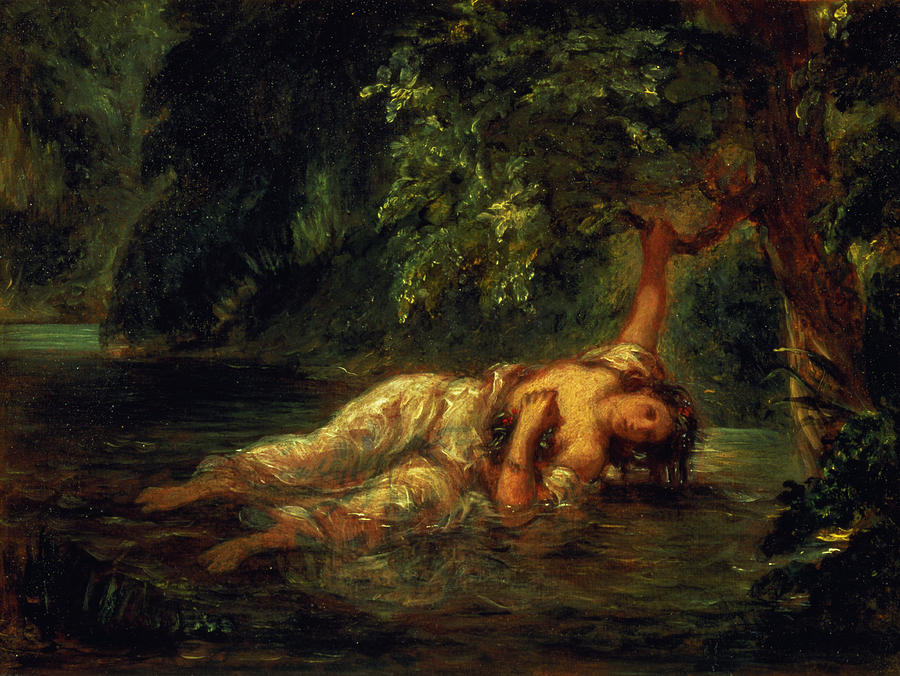 Ophelia Painting - The Death Of Ophelia, 1844 by Ferdinand Victor Eugene Delacroix