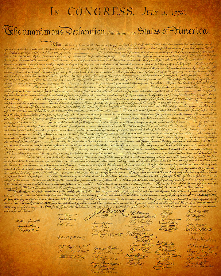Declaration Mixed Media - The Declaration Of Independence - Americas Founding Document by Design Turnpike
