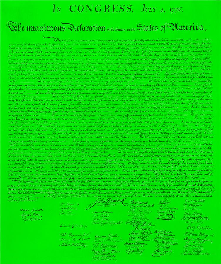 Declaration Of Independence Photograph - The Declaration Of Independence In Green by Rob Hans