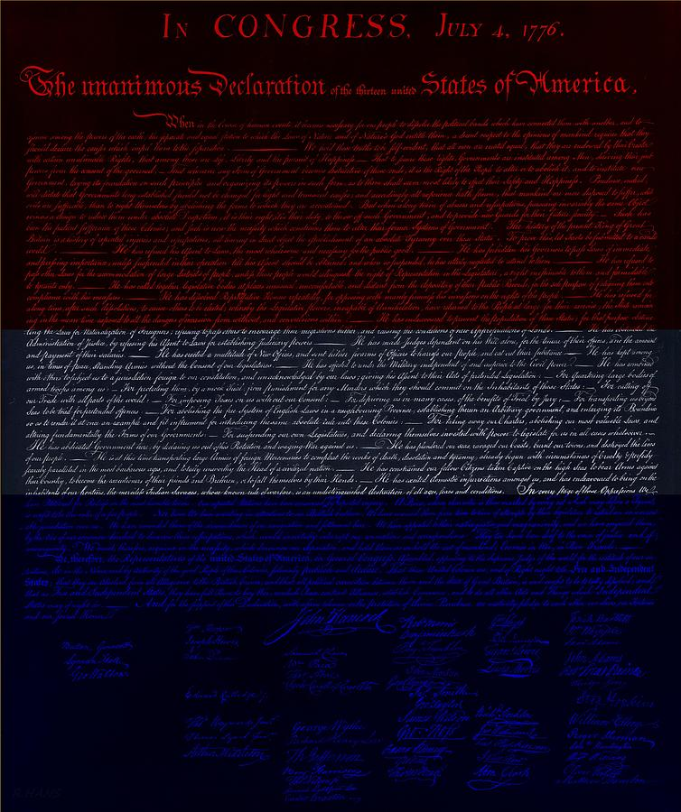 The Declaration Of Independence In Negative R W B 1 Photograph