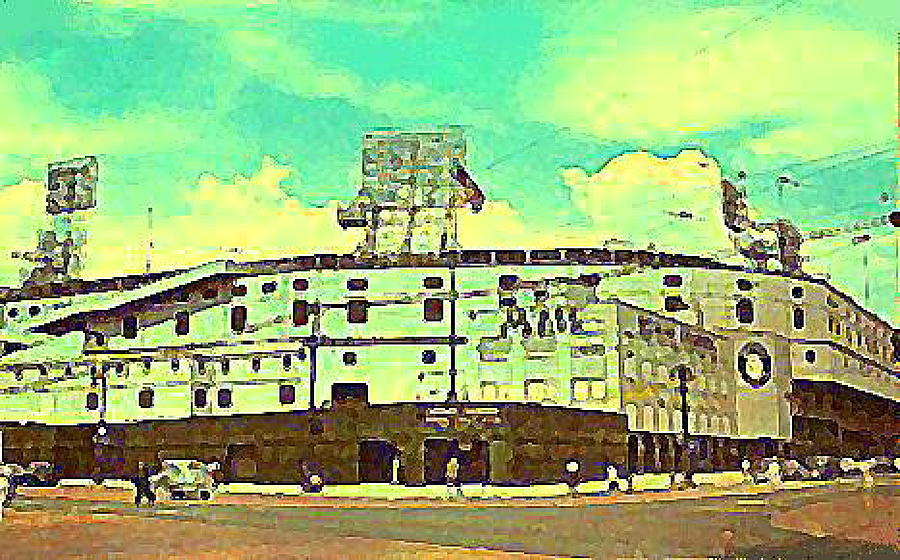 Detroit Mi Painting - The Detroit Tigers Briggs Stadium In The 1950s by Dwight Goss