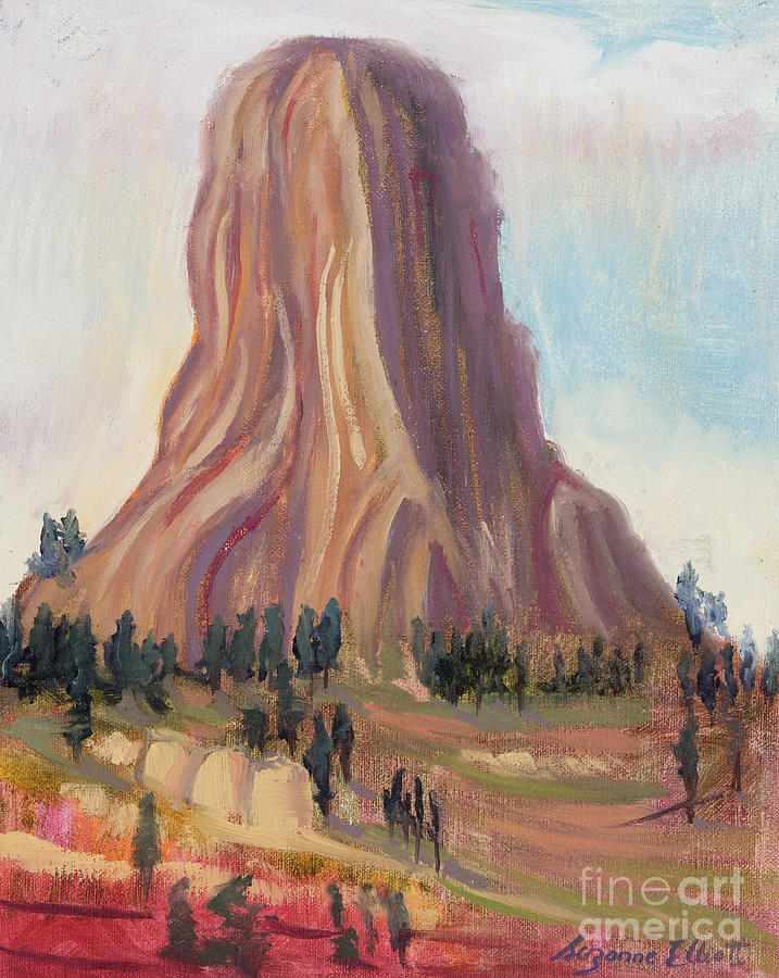 Western Landscape Painting - The Deviils Tower in  Wyoming by Suzanne Elliott