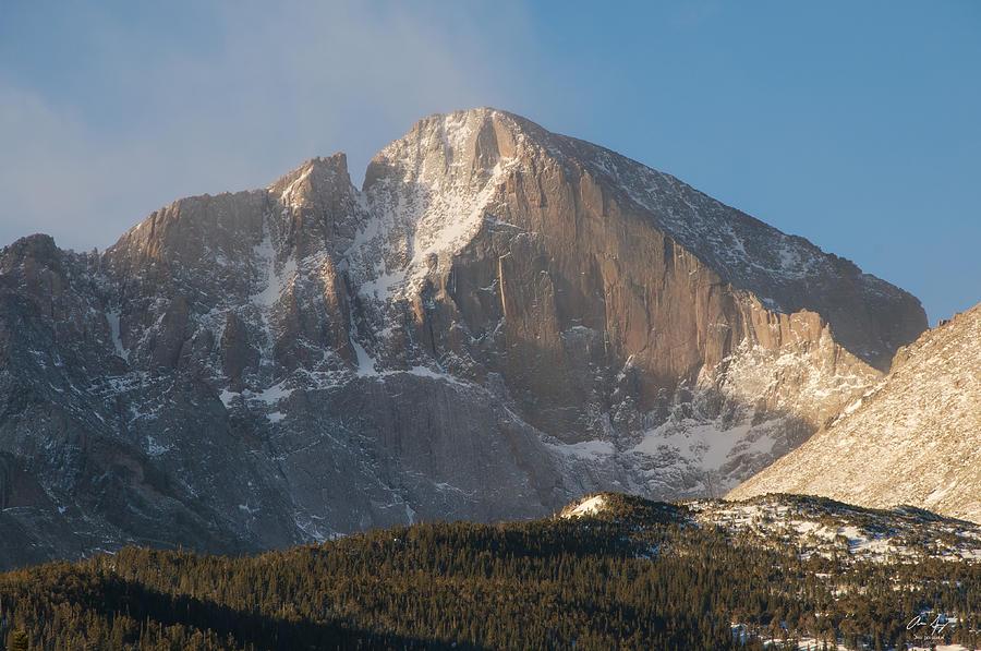 Diamond Photograph - The Diamond Face Of Longs Peak by Aaron Spong