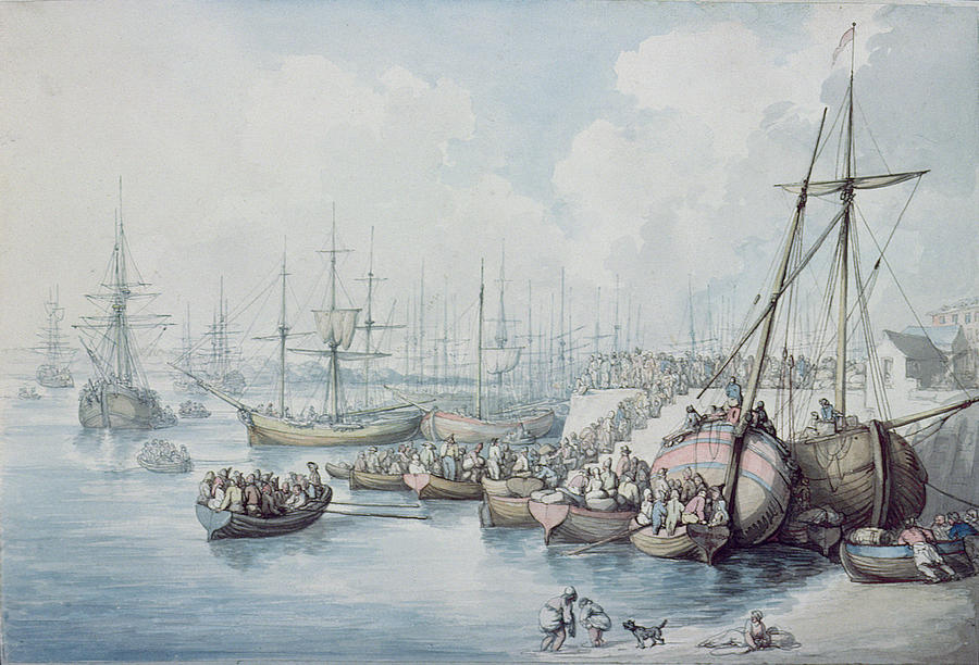 French Revolution Painting - The Disembarkation Of The Royalists Of Toulon At Southampton In 1794 by Thomas Rowlandson